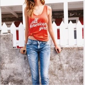 Wildfox Red Graphic All American Girl Tank Top - S